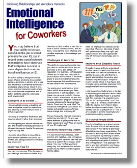 emotional intelligence training and education handout for employees coworkers